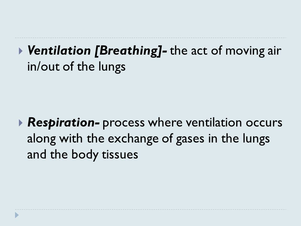 Ventilation [Breathing]- the act of moving air in/out of the lungs